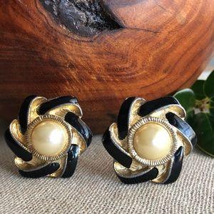 Vintage Gold & Black Faux Pearl Clip Earrings